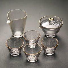 盖碗茶杯玻璃日式大号初雪三才碗加厚耐热茶碗锤纹公道杯功夫茶具