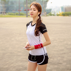 Summer sports T-shirt women running fitness shirt quick dry breathable thin short sleeve round neck hit color T-shirt yoga clothes