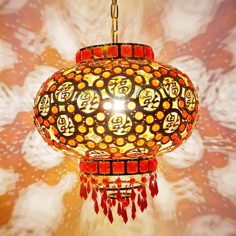 大红灯笼挂饰阳台吊灯元旦新年节结婚乔迁走马灯LED旋转电镀灯笼