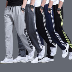 Autumn and winter sports pants men's large size loose casual pants straight trousers summer thin section youth elastic pants