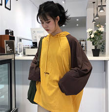 Chic early autumn ins super fire top stitching versatile long sleeve hooded sweater female Korean version of the loose tide