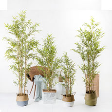 Simulation artificial fake tree bamboo green plant Chinese Zen style partition courtyard indoor floor pot decoration