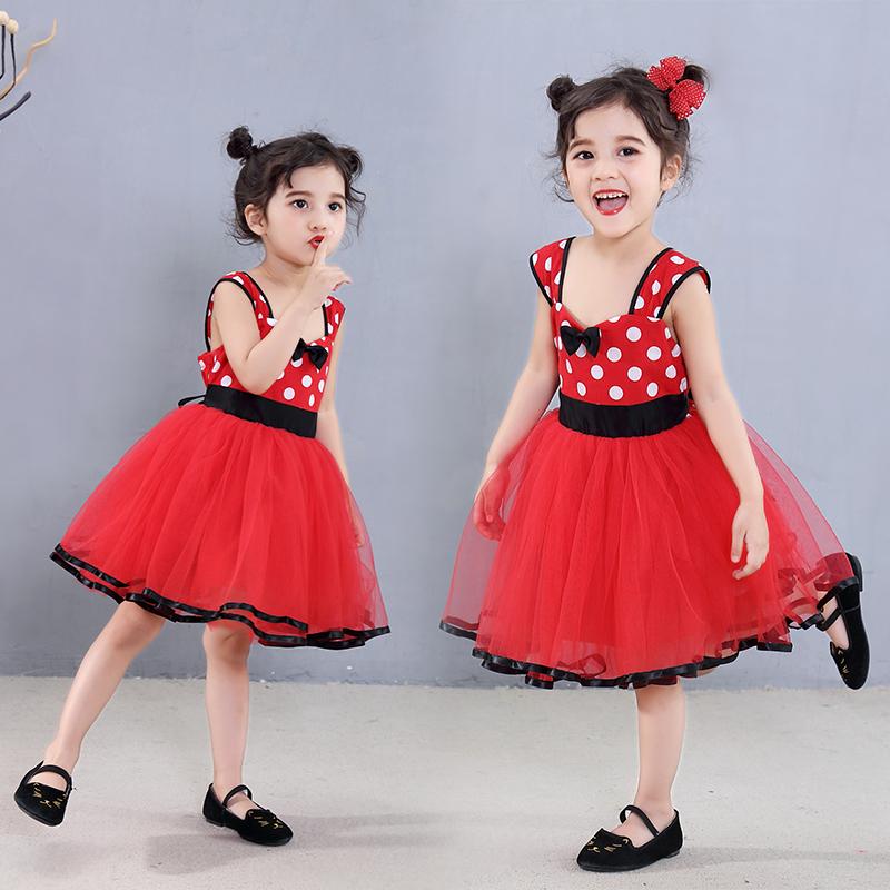女童礼服米妮公主裙女公主儿童红色波点连衣裙蓬蓬纱裙迪士尼
