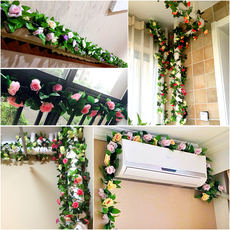 Simulation rose vine fake flower rattan plastic vine plant living room air conditioning pipe winding heating decorative cover