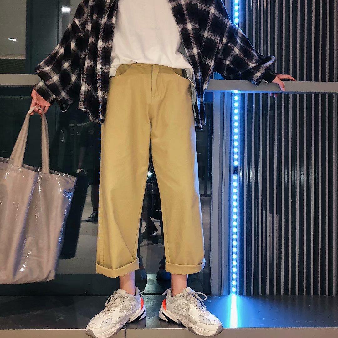 港风文艺秋季宽松直筒牛仔裤男士日系复古80年代阔脚休闲裤九分裤