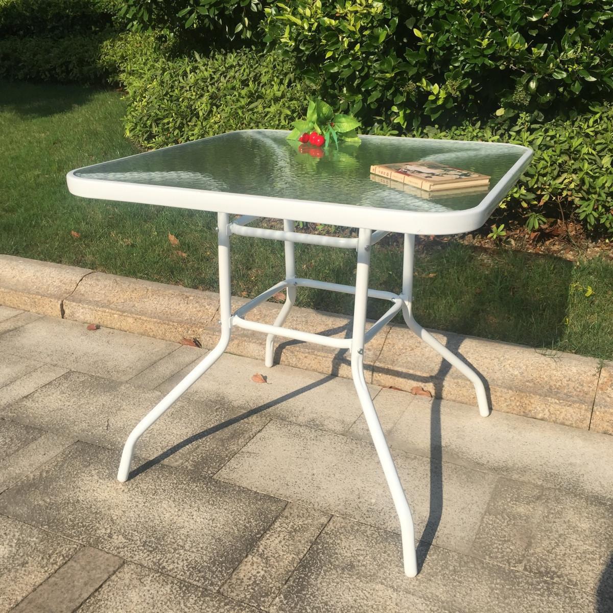 庭院户外休闲钢化玻璃圆餐桌家具咖啡茶几阳台农庄组装洽谈桌促销
