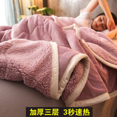 Double blanket quilt thickening winter coral fleece blanket thick warm flannel nap blanket single