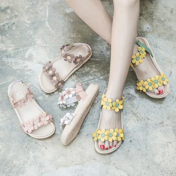 清倉撿漏瑪菲瑪圖涼鞋女鞋夏季時尚真皮花朵厚底一字帶平底羅馬鞋