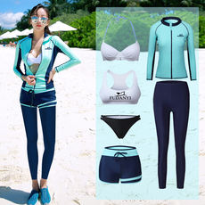South Korea's new wetsuit long-sleeved trousers swimwear sunscreen surfing snorkeling couples men and women zipper jellyfish clothing
