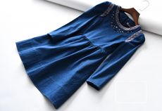 50 percent CDQ126 2017 Autumn New Products Round Neck Long Sleeve Beaded Diamond Waist Denim Dress