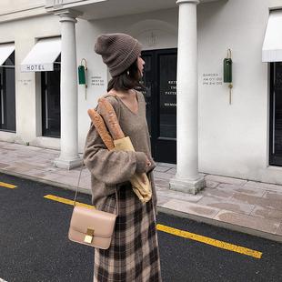 杨沫沫 chic早秋上衣针织+高腰格子半身裙女装套装毛衣裙子两件套