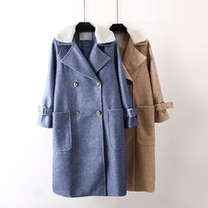 Textured tweed coat female winter fur collar loose long double-breasted woolen coat large size women's clothing Y8D888