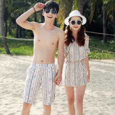 Swimsuit female split skirt three-piece sexy bikini spa conservative Cape couple swimming beach pants male