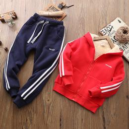 儿童保暖套装男童棉袄棉裤两件套2018新款中大童冬装套装加绒加厚
