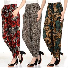 Middle-aged thin ice silk mother loaded printing lantern pants elastic waist casual pants nine pants summer