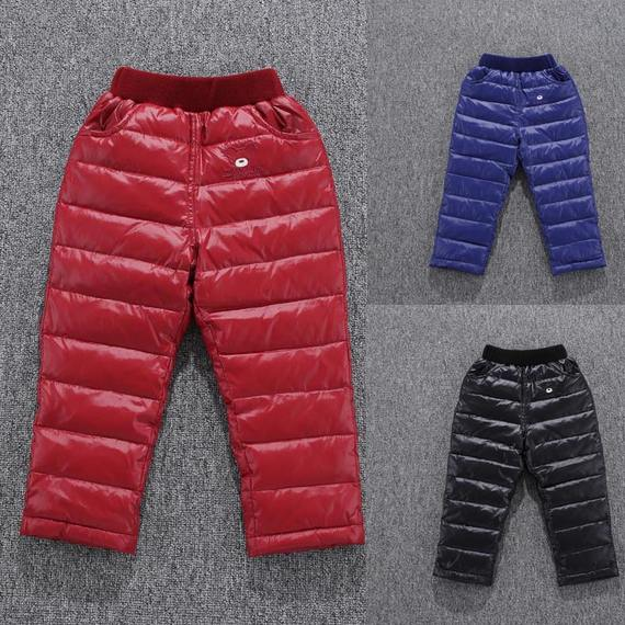 Children's down pants boys and boys warm pants wear boys and girls baby big children and children down jacket winter pants