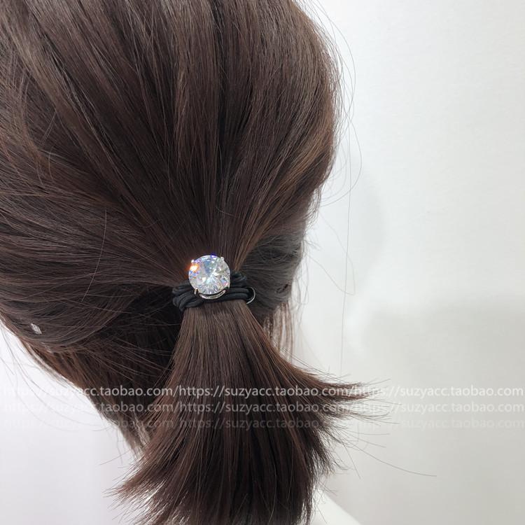 SuzyAcc 韩国东大门 饰品 单颗水钻皮筋简约百搭双股头绳马尾头扎