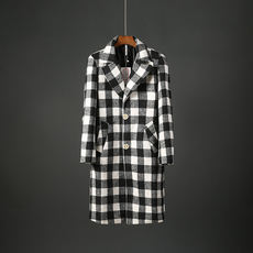 Autumn and winter men's fashion woolen coat in the long section of the lapels Slim male black and white versatile woolen coat 20131