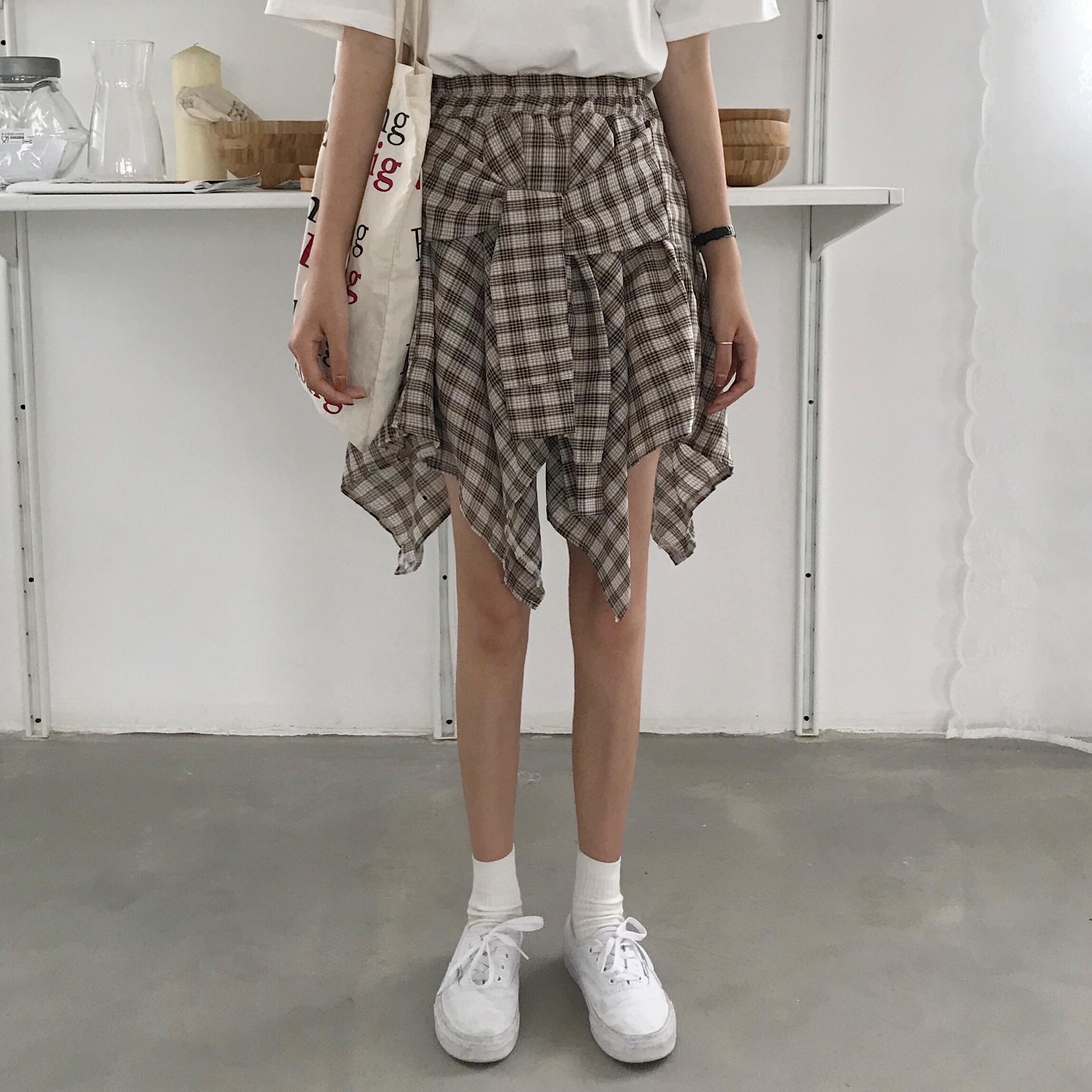 裙子2018新款女装夏季韩版不规则假两件裙子显瘦高腰半身裙短裙潮