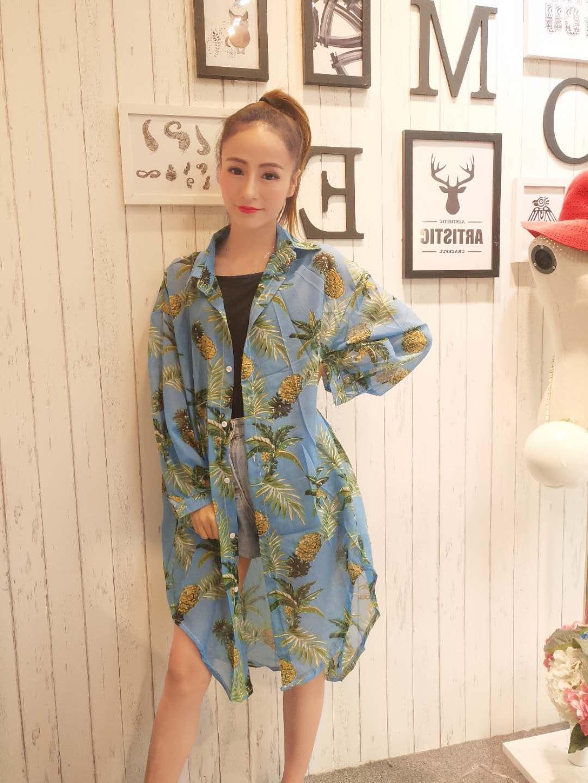 夏季韩版时尚空调衫宽松菠萝水果印花防晒衣BH直播专享