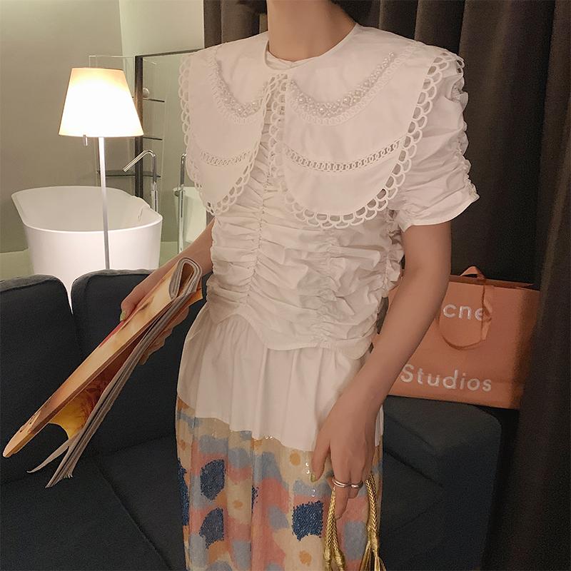 MONA 假领让单调的夏天也有时尚的层次感 设计感衬衫领子娃娃领