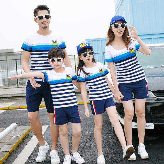 Parent-child wear summer 2018 new tide short-sleeved t-shirt a family of three spring mother and daughter women's family summer suit