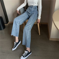Suitable for thigh root thick pants women's spring 2019 new jeans students high waist wide leg pants loose tide