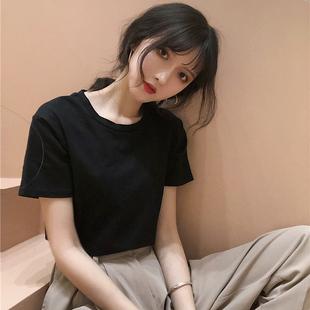 2018夏装新款学院风纯色圆领百搭基础短袖T恤学生女装打底衫上衣