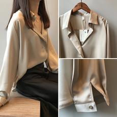 丝绸缎面衬衫女设计感小众夏很仙的长袖衬衣薄款宽松v领雪纺上衣
