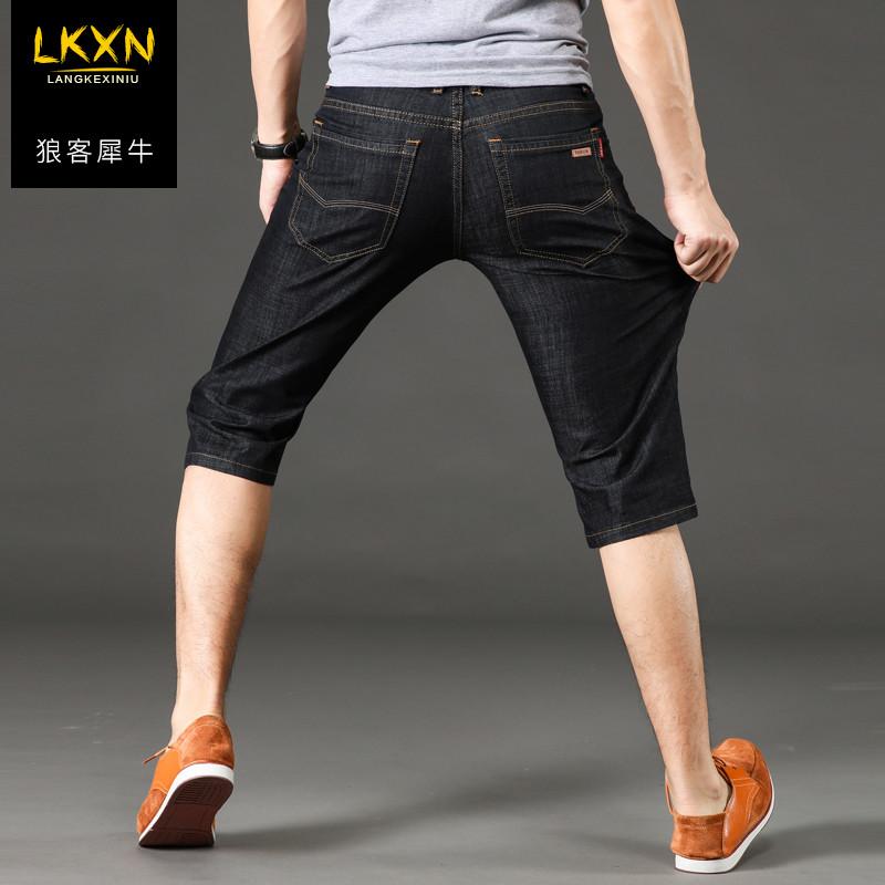 高弹力七分牛仔裤男 夏季薄款牛仔短裤 修身直筒商务休闲风7分裤
