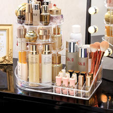 Cosmetic storage box rack desktop rotating transparent acrylic dressing table skin care products household lipstick net red