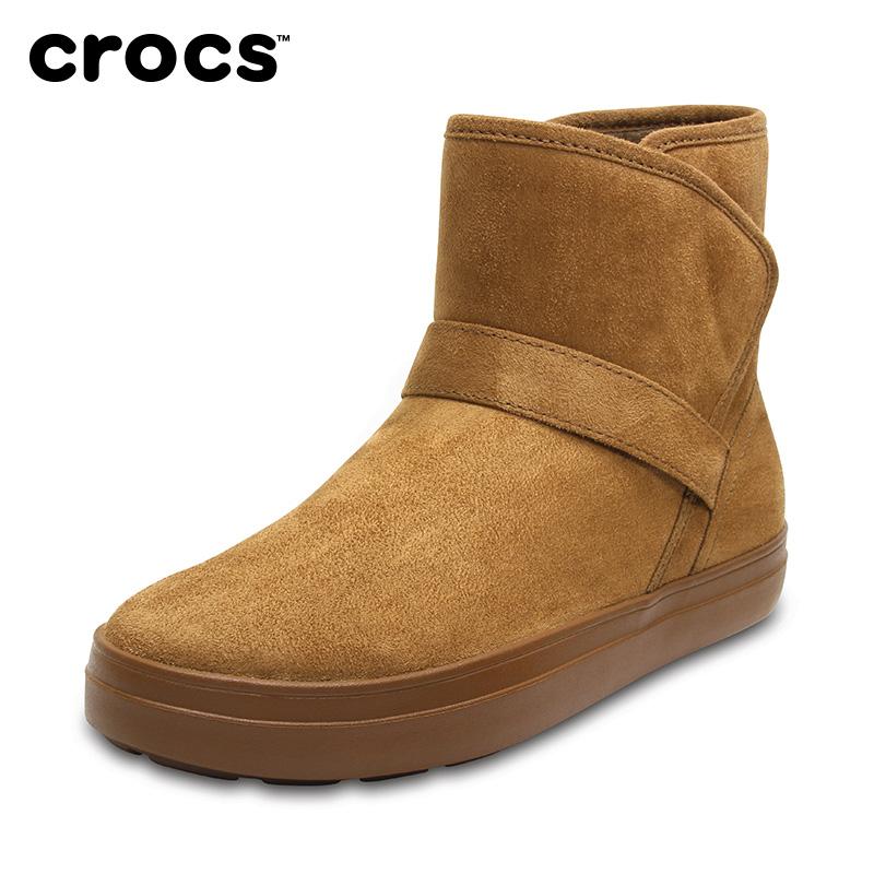 Crocs卡骆驰女鞋 冬季女士休闲洛基保暖平跟短靴雪地靴|204856