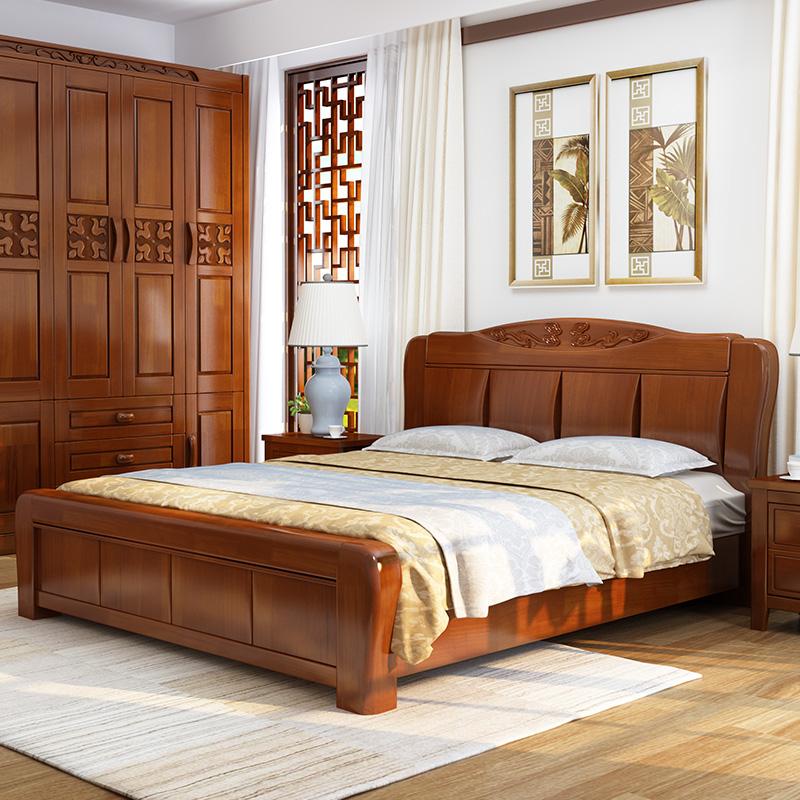 中式全实木高箱床图片