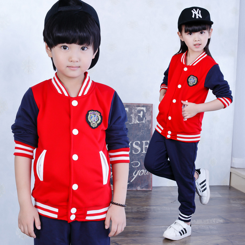 新款小学生校服 棒球服红色套装 春秋季 儿童班服中学生运动会服图片