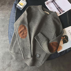 2018 new thick men's sweater Korean version of the trend handsome personality stickers wild knit bottoming shirt men's sweater