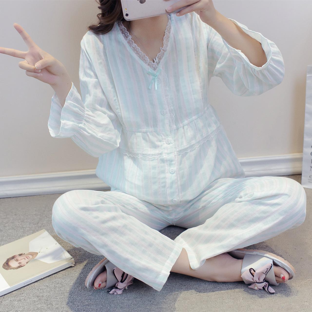 薄款纯棉纱双层纱布月子服夏季产后产妇孕妇