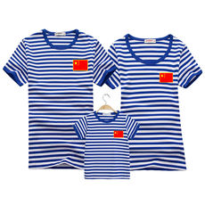 Family fitted national flag sea soul shirt striped short-sleeved t-shirt cotton family of three father and mother mother and daughter blue and white half-sleeved