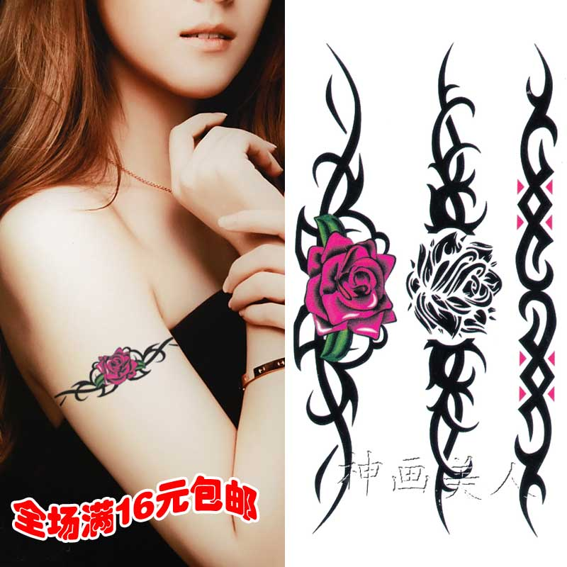 条形图案玫瑰花防水女持久刺青脚裸腿部锁骨手臂手腕纹身贴纸