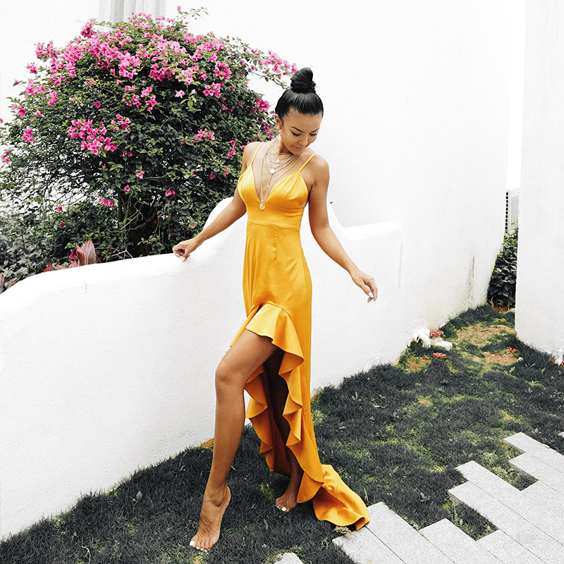 Ocean Mystery新款黄色度假连衣裙女装夏季修身吊带沙滩小礼裙子