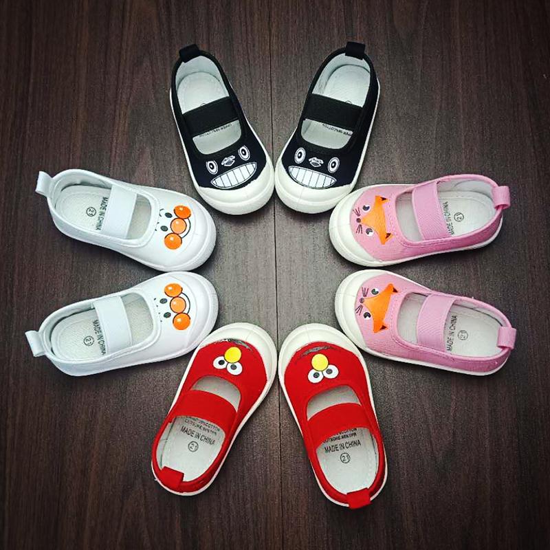 幼儿园软底室内鞋秋季女宝宝小白鞋男童小童帆布鞋一脚蹬儿童布鞋
