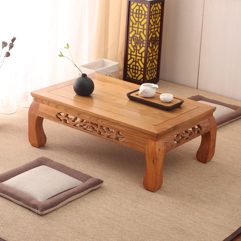 现代简约仿古老榆实木炕桌榻榻米茶几飘窗桌地台阳台茶道小矮桌子