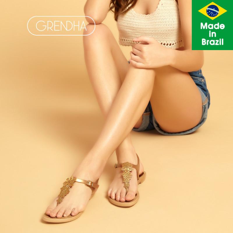 GRENDHA巴西进口夏季新款凉鞋女夹脚时尚凉拖鞋平底通勤罗马凉鞋
