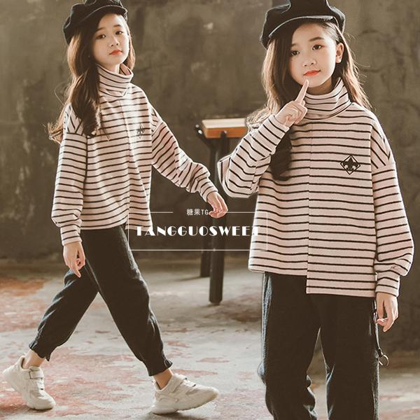 女童条纹卫衣2018冬季中大童韩版加绒加厚高领打底衫儿童洋气上衣