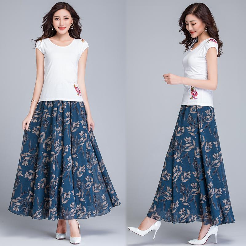 中老年夏季雪纺半身裙大码松紧腰大摆妈妈裙子高腰气质下半长裙女
