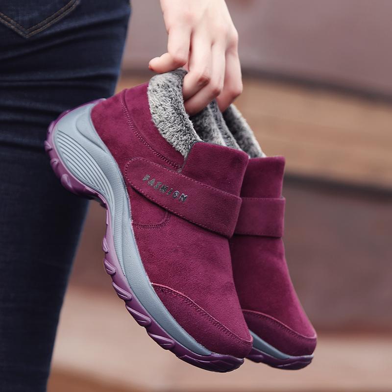 足力健安全老人鞋正品加棉厚底摇摇鞋女加绒保暖防滑软底妈妈鞋女
