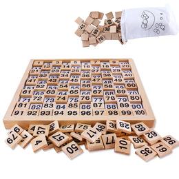 蒙特梭利榉木1-100数字配对连续板3-6岁幼儿园数学早教教具百数板