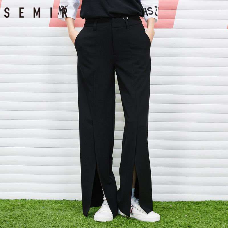 森马企业店休闲裤女春装宽松阔腿裤黑色开叉长裤
