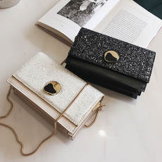 New small bag female 2019 new wave Korean version of the wild Messenger bag small sequins chain fashion lock small square bag