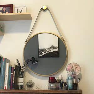 铁艺壁挂镜圆形镜子化妆镜浴室镜圆镜装饰镜试衣镜挂镜创意镜包邮