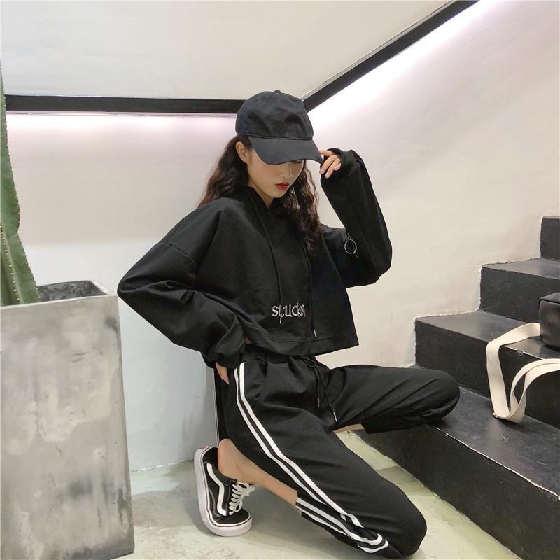 帅气卫衣街拍女韩版裤子樱田川岛学生显瘦胯宽的嘻哈宽松女生套装